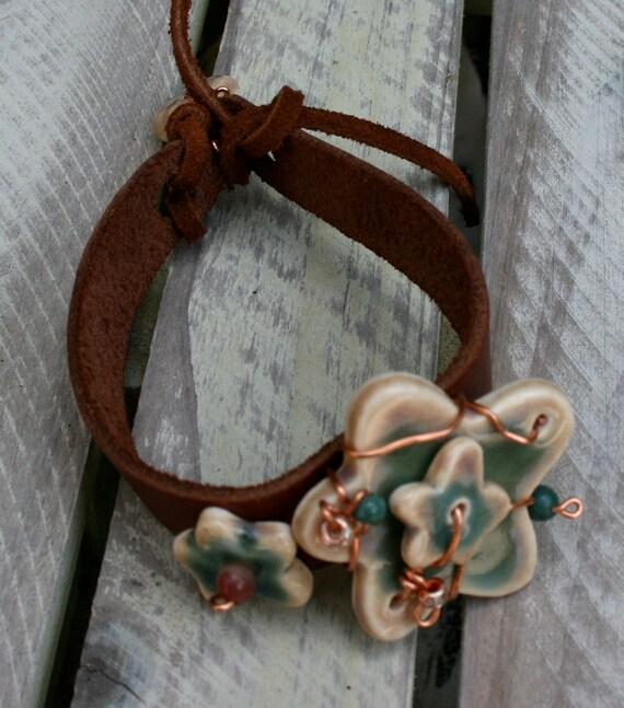 Boho artisan beaded flower cuff