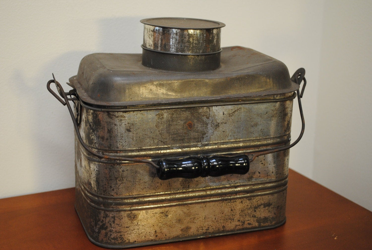 Galvanized Tin Miners Lunch Pail Vintage Metal Lunch Box