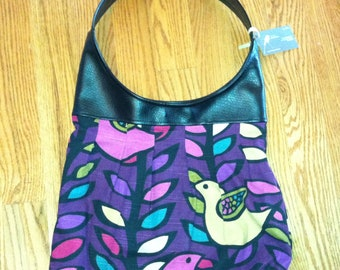 Large Pleated Canvas Shoulder Bag | Purple Bird Print | Black Pleather Purse | Canvas and Leather Tote | Canvas Purse | Faux Leather Purse