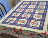 Vintage Tablecloth Simtex Floral Print Primary Colors Red Blue Green Yellow Flowers