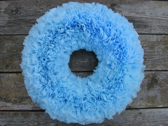 "Spring Clearance Sale --- 15"" Indoor/Outdoor Wreath --- Light Blue --- Ready to Ship"