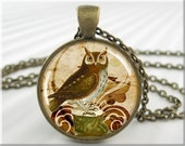 Owl Necklace Pendant Owl Art Collage Jewelry Resin Charm (034RB)