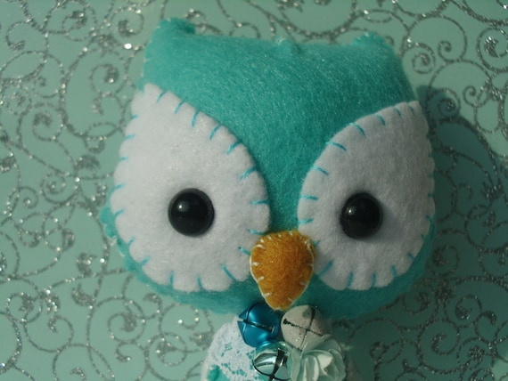 Blue and White Owl Plush Stuffed Animal Art Doll Plushie Softie Christmas Holiday Gingermelon Ginger Melon