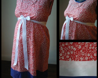 Maternity Hospital Gown -Red and White Flowers, Blue Band (Labor and Delivery Hospital Gown)
