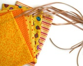 Yellow Set Fabric Gift Bags/Party Bags, Fully Lined - Set of 5