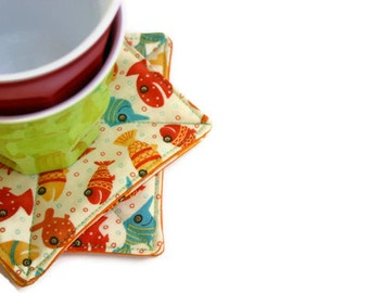 Lollipop Fish Coasters - Set of 4 - Fabric Coasters