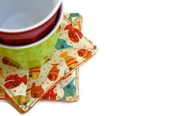 Lollipop Fish Fabric Coasters - Set of 4
