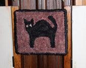 Halloween hooked rug candle mat or cupboard rug
