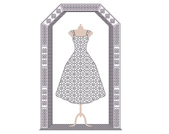 Little Black Dress cross stitch & blackwork chart nr160, party dress, cocktail dress