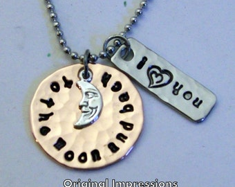 I love you to the moon and back pendant necklace of hammered copper and stainless steel with a silver charm on chain of your choice.