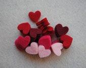 100 Piece Small Die Cut Felt Hearts, Reds