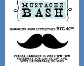 Mustache Bash Invitation Template 4X6