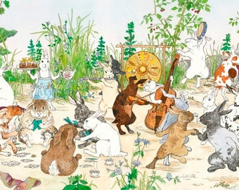 "Large Hedgerow Hop Bunnies Unframed Giclee Print 12.75""x30"""