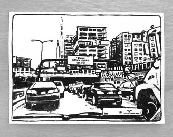 Original Ink Drawing Boston Tunnel Cityscape Urban Landscape Scenery ACEO ATC Artist Trading Card