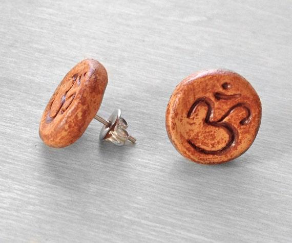 Om Stud Earrings - Clay Faux Plug Fake Gauge with Surgical Steel backs