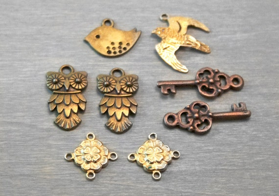 Bird Charms Lot - Owl Sparrow Skeleton Keys Clovers - Findings Destash Collection - Jewelry Supply 8 pcs