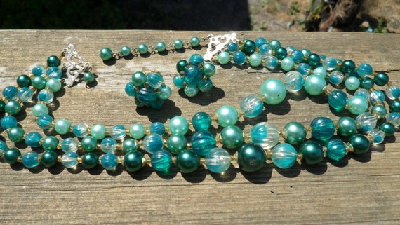 Vintage Beaded Necklace and Clip-on Earrings Set  Grandma's Costume Jewelry  Aqua Pearly and Hard Plastic Beads  Hong Kong