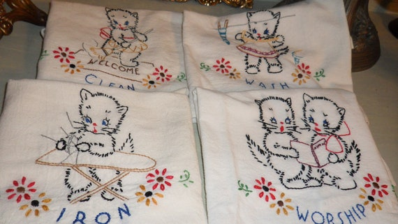 Vintage Kitchen Dish Towels Embroidered Kitten Dish Towels  Muslin Cotton Cottage Shabby Chic  Cat Towels Vintage Linens