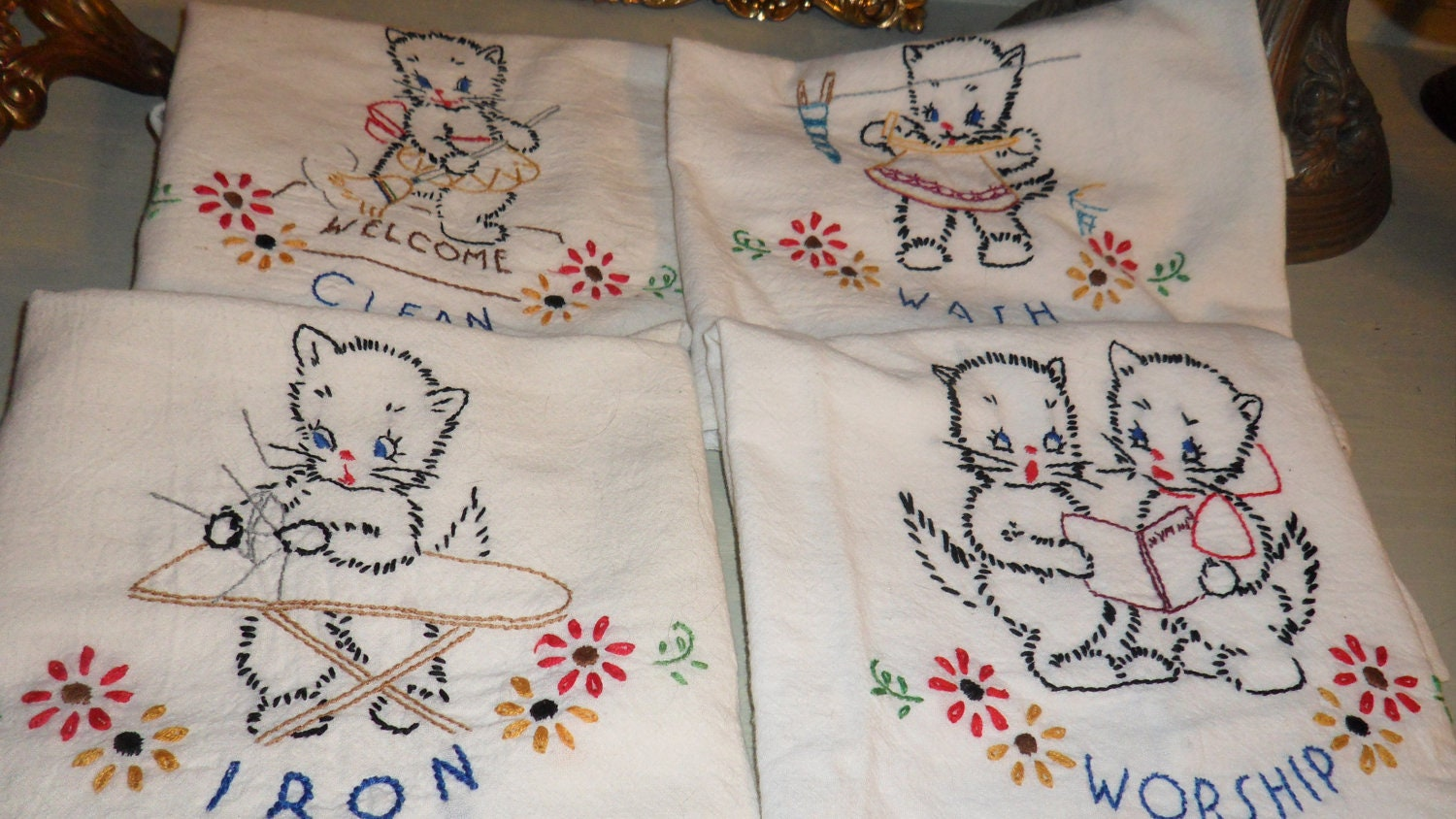 Vintage Kitchen Dish Towels Embroidered Kitten Dish Towels