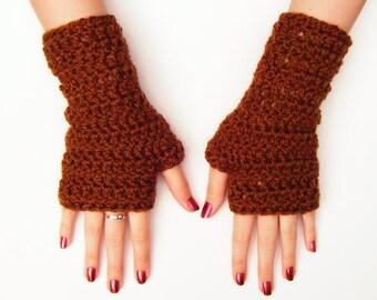 Brown Fingerless Crochet Gloves Chunky Half Glove