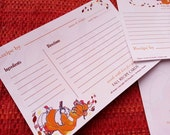 Set of 9 -Fill In Thanksgiving and Autumn Recipe Cards