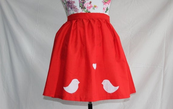 Handmade red high-waisted skirt with white love birds and gingham pockets size UK12 waist 32""