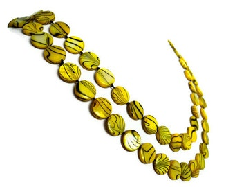 Yellow Striped Extra Long Shell Pearl Necklace