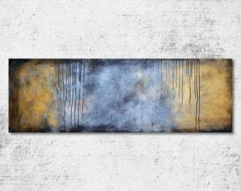 S A L E - Huge Large Original Art 20 x 60, Moody Highly Textured Abstract Acrylic Painting by Crystal Henson