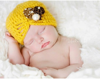 NEW ITEM Baby girl vintage inspired flapper hat in Mustard yellow