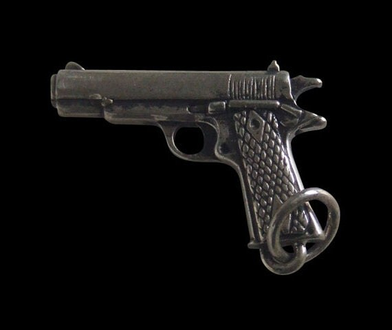 Solid 92.5% Sterling Silver 9mm Marine Corp Semi Auto Pistol Pendant - Free Shipping