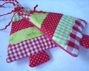 Fabric Christmas ornaments Set of 2 red white green