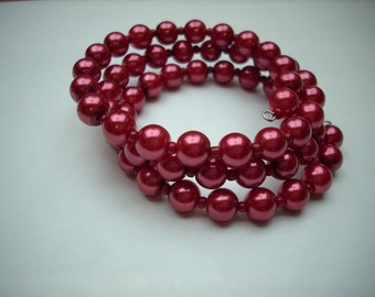 Memory wire wrapped bracelet  burgundy pearls