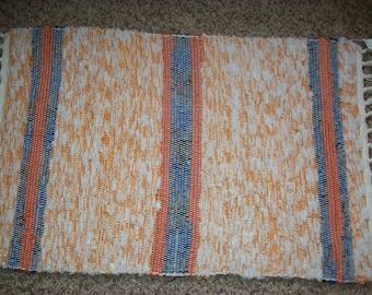 gold blue orange multicolor chenille woven rag rug South Dakota made
