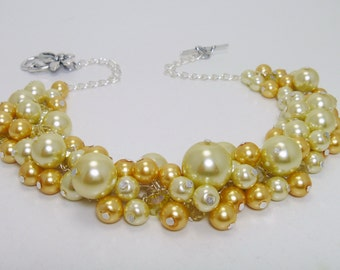Pearl Necklace, Yellow Pearl Cluster Necklace, Yellow Bridesmaid Jewelry, Chunky Pearl Necklace, Pearl Cluster Necklace, Wedding Jewelry