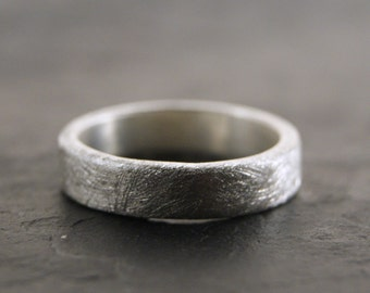 Everyday Ring - Sterling Silver Band in Coarse Sanded Finish, Comfort Fit, 5mm x 2mm Wide Band