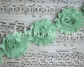 1/2 Yard Mint Chiffon Flower Shabby Rose Trim