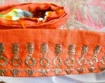 1920's Orange Rust Gold Threaded Trim