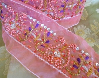 Peachy Pink Embroidered Beaded Trim