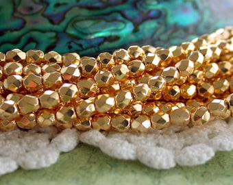 24kt Gold Plated Beads, 4mm Fire Polished Beads, Czech Glass Beads, Faceted Glass Beads, Gold Beads CZ-141