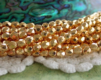 24kt Gold Plated Beads, 4mm Gold Fire Polished Beads, Czech Glass Beads, Faceted Glass Beads, Gold Plated Glass Beads CZ-141
