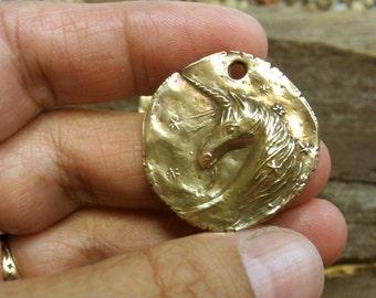Bronze Unicorn  Coin Pendant