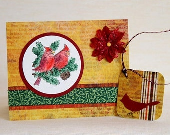 Christmas Cards with Red Cardinals, Set of 6 Handmade Notecards with Matching Gift Tags, Boxed Holiday Cards, Christmas Birds in Watercolor