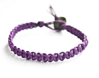 Purple and Black Hemp Bracelet Friendship Stackable