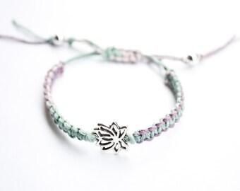 Lotus Hemp Bracelet Pastel Macrame Friendship
