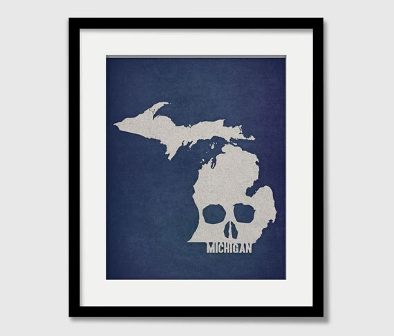 Halloween Gift - Michigan State Map - Custom Skull Print - I Love USA - Halloween - Rock and Roll Wall Art Gift - Grand Rapids