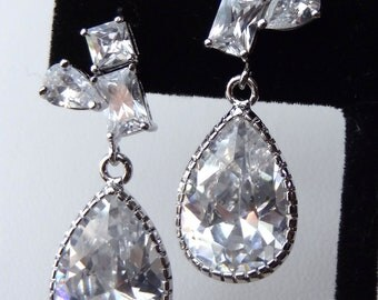 Cubic Zirconia Drop and Shaped Sterling Silver Dangle Earrings, Wedding Bride Earrings, Bridesmaids Earrings- Free Shipping