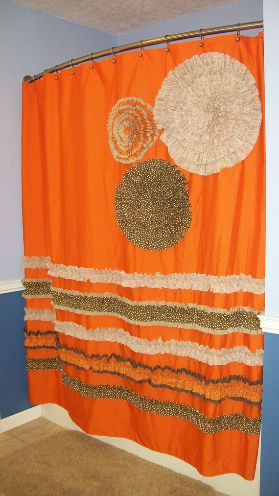 Orange And Brown Shower Curtain Jessica Simpson Provincial Shower
