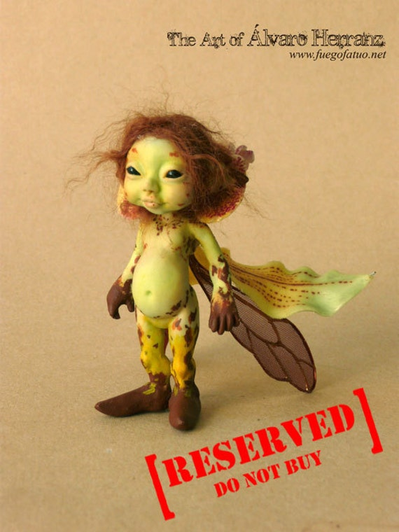 RESERVED  for Sluagh - FINAL PAYMENT - Green leopard orchid sprite - Resin casted ooak art doll faerie fairy pixie flower cymbidium orchid