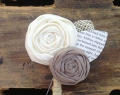 Two Flower Vintage Fabric Wedding Boutonniere