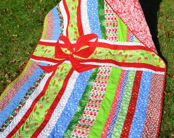 Modern Quilt Holiday Bedding Mod Quilt Handmade Quilt Throw Funky Festive Holiday Quilt Gift Wrapped Unique Novelty Quilt